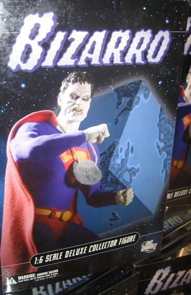 Bizarro, and his cube shaped home planet, Htrae