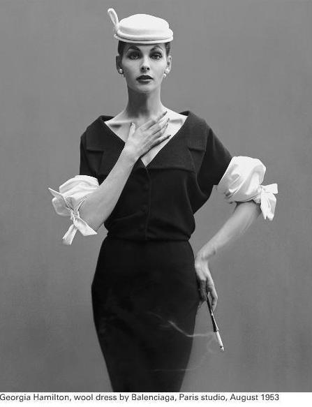 Richard Avedon - Georgia Hamilton, Wool dress by Balenciaga, 1953